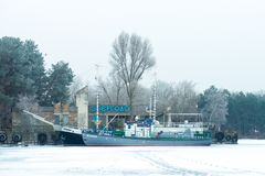 33c ural χειμώνας θερμοκρασίας της Ρωσίας τοπίων Ιανουαρίου Σταθμός ποταμών Energodar, Ουκρανία Στοκ Φωτογραφία