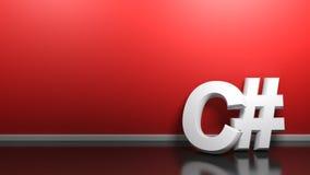 C# vit skriver på den röda väggen - illustration för tolkning 3D vektor illustrationer
