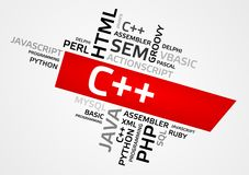 C++ word cloud, tag cloud, vector graphics Stock Photography