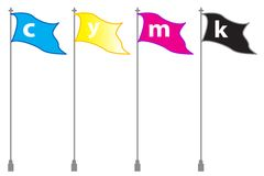 C y m k flags. Isolated cute c y m k same waving flags Royalty Free Stock Photos