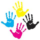 C y m k hand prints. Isolated line art work Stock Photos