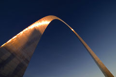 C04 Gateway Arch. Gateway Arch in St. Louis captured with red sunset burst Stock Image