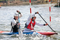 C2 slalom kayakers Royalty Free Stock Photos