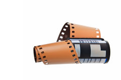 C41 negative film. C41 negative film in cassette isolated over white background Stock Photo