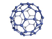 C60 azul isolado Fullerene Imagem de Stock
