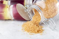 Cañade azúcar, azúcar y panela Derivados DE La caña azúcar DE stock foto's