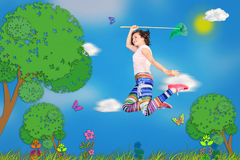 Caça da borboleta Imagens de Stock Royalty Free