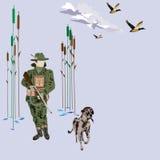 A caça ducks a ilustração do vetor do conceito no estilo liso Fotos de Stock