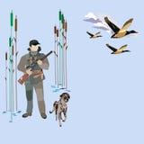 A caça ducks a ilustração do vetor do conceito no estilo liso Foto de Stock