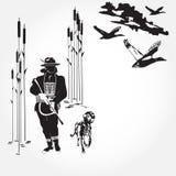 A caça ducks a ilustração do vetor do conceito no estilo liso Fotografia de Stock Royalty Free