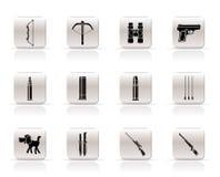 Caça e ícones dos braços Imagens de Stock Royalty Free