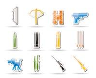 Caça e ícones dos braços Fotos de Stock Royalty Free