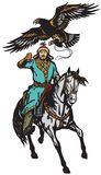 Caçador asiático da águia do cavaleiro em um cavalo Fotografia de Stock
