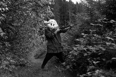 Caçador branco do coelho Fotos de Stock