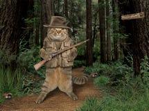 Caçador do gato na floresta imagens de stock