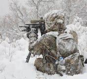 Caçador do tempo frio Fotografia de Stock