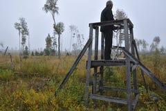 Caçador dos alces que está em uma torre da caça que guarda seu rifle imagens de stock