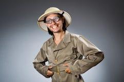Caçador engraçado do safari Fotografia de Stock Royalty Free