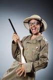 Caçador engraçado do safari Fotografia de Stock