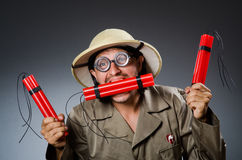Caçador engraçado do safari Fotos de Stock Royalty Free