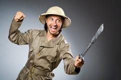 Caçador engraçado do safari Fotos de Stock