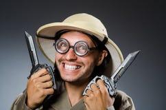 Caçador engraçado do safari Foto de Stock Royalty Free