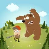 Caçador engraçado dos desenhos animados com urso Fotos de Stock