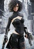Caçador fêmea da fantasia que guarda as bestas do duelo que seguem seu alvo através da neve ilustração royalty free
