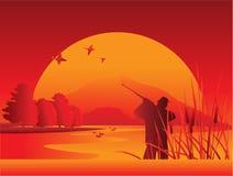 Caçador no lago ilustração stock