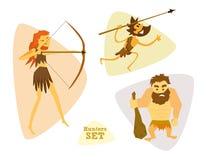 Caçadores engraçados dos desenhos animados ajustados Cavemans Huntering Imagem de Stock