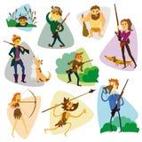 Caçadores engraçados dos desenhos animados ajustados Grupo dos desenhos animados do caçador Imagens de Stock