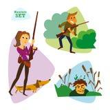 Caçadores engraçados dos desenhos animados ajustados Huntering Imagem de Stock