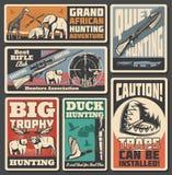 Caçando cartazes, munição e animais do esporte ilustração royalty free