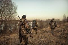 Caçando a cena com grupo de caçadores com caça da munição que atravessa o campo rural durante a época de caça no por do sol imagem de stock