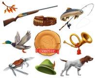 caçando o jogo Espingarda, cão, pato, pesca, chifre, chapéu, faca Engrena o ícone ilustração royalty free