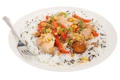 Caçarola & arroz de galinha Fotografia de Stock