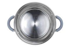 Caçarola de aço inoxidável isolada no fundo branco Imagem de Stock