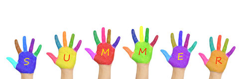 Caçoa as mãos coloridas que formam a palavra Fotografia de Stock