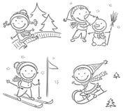 Caçoa atividades do inverno fora ilustração do vetor