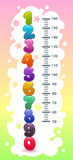 Caçoa a carta da altura com números coloridos dos desenhos animados engraçados ilustração do vetor