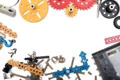 Caçoa ferramentas dos brinquedos da construção, ferramentas coloridas do brinquedo imagem de stock