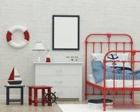 Caçoa a imagem interior da rendição 3d da sala de sono Fotos de Stock Royalty Free