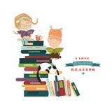 Caçoa livros de leitura Fotos de Stock