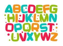 Caçoa o alfabeto, fonte colorida dos desenhos animados, letras ajustadas, elemento engraçado da criança do projeto da sala do jog Fotos de Stock