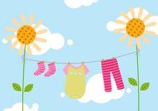 Caçoa o clothesline Imagens de Stock Royalty Free