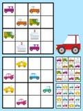 Caçoa o enigma do sudoku com automóveis dos carros Fotografia de Stock Royalty Free