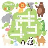 Caçoa o jogo do enigma do livro do compartimento da folha lógica das palavras das palavras cruzadas dos animais da floresta do ve Foto de Stock