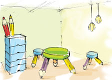 Caçoa o quarto ilustração royalty free