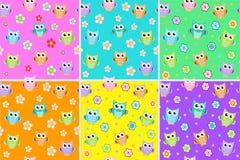 Caçoa o teste padrão sem emenda com corujas Fundo infinito da coruja, textura Contexto das crianças s Ilustração do vetor Imagem de Stock Royalty Free