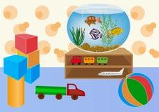 Caçoa a sala de jogos com brinquedos Foto de Stock Royalty Free